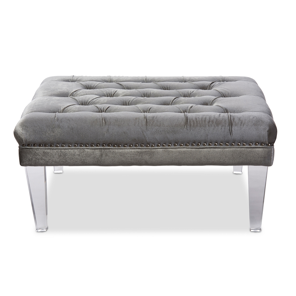 baxton studio edna modern and contemporary square grey microsuede fabricupholstered lux tufted ottoman bench with acrylic legs. baxton studio edna modern and contemporary square grey microsuede