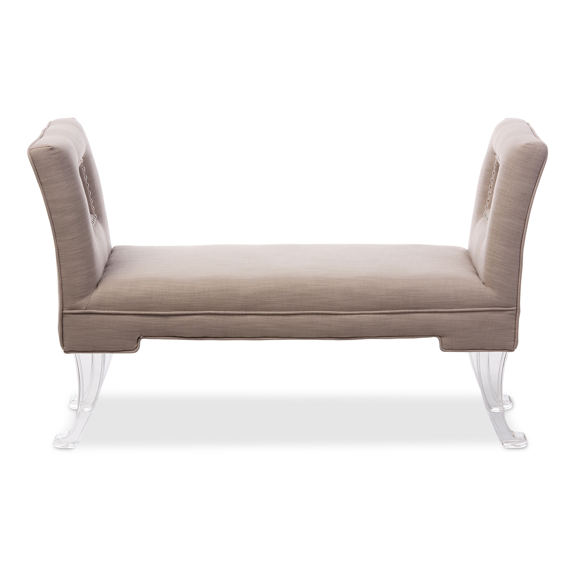 Baxton Studio Bessie Modern And Contemporary Beige Linen Upholstered Lux  Flared Arms Ottoman Bench With Flared Acrylic Legs