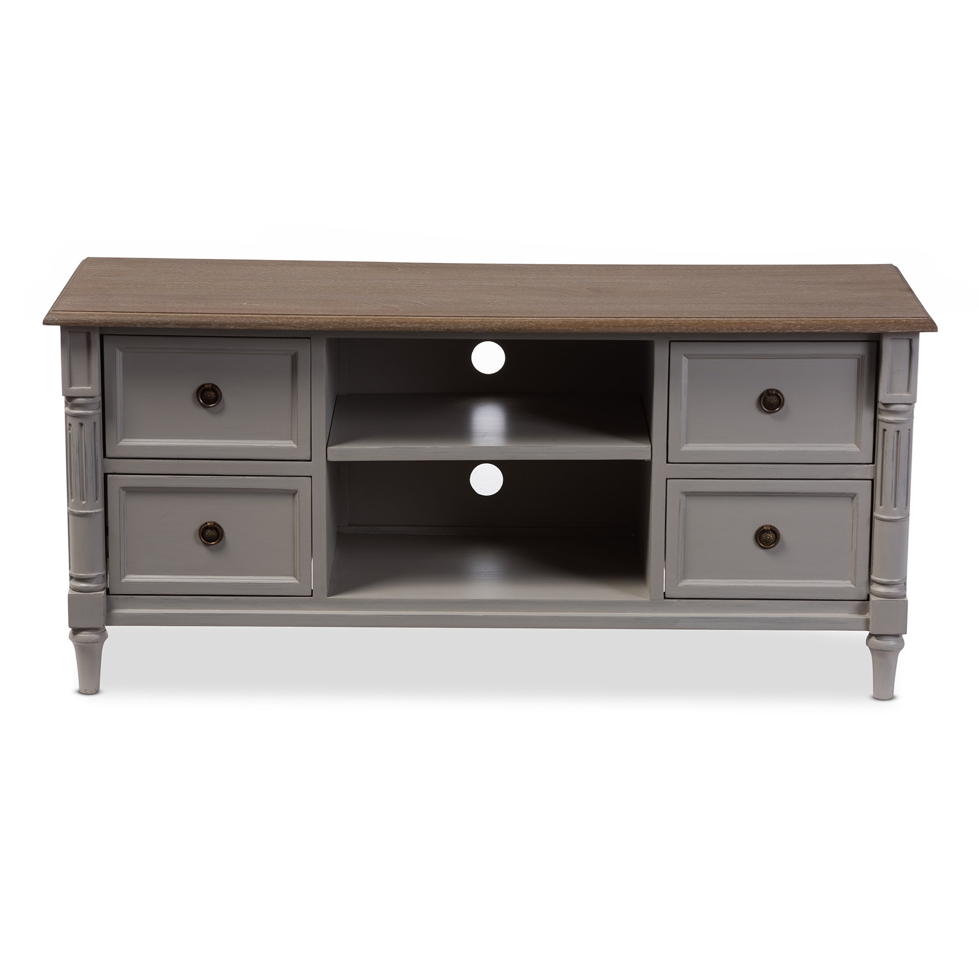 Baxton Studio Edouard French Provincial Style White Wash Distressed Two Tone 4 Drawer TV Cabinet