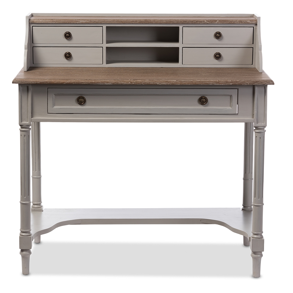 baxton studio edouard french provincial style white wash distressed two tone writing desk affordable modern - Affordable Modern Office Furniture