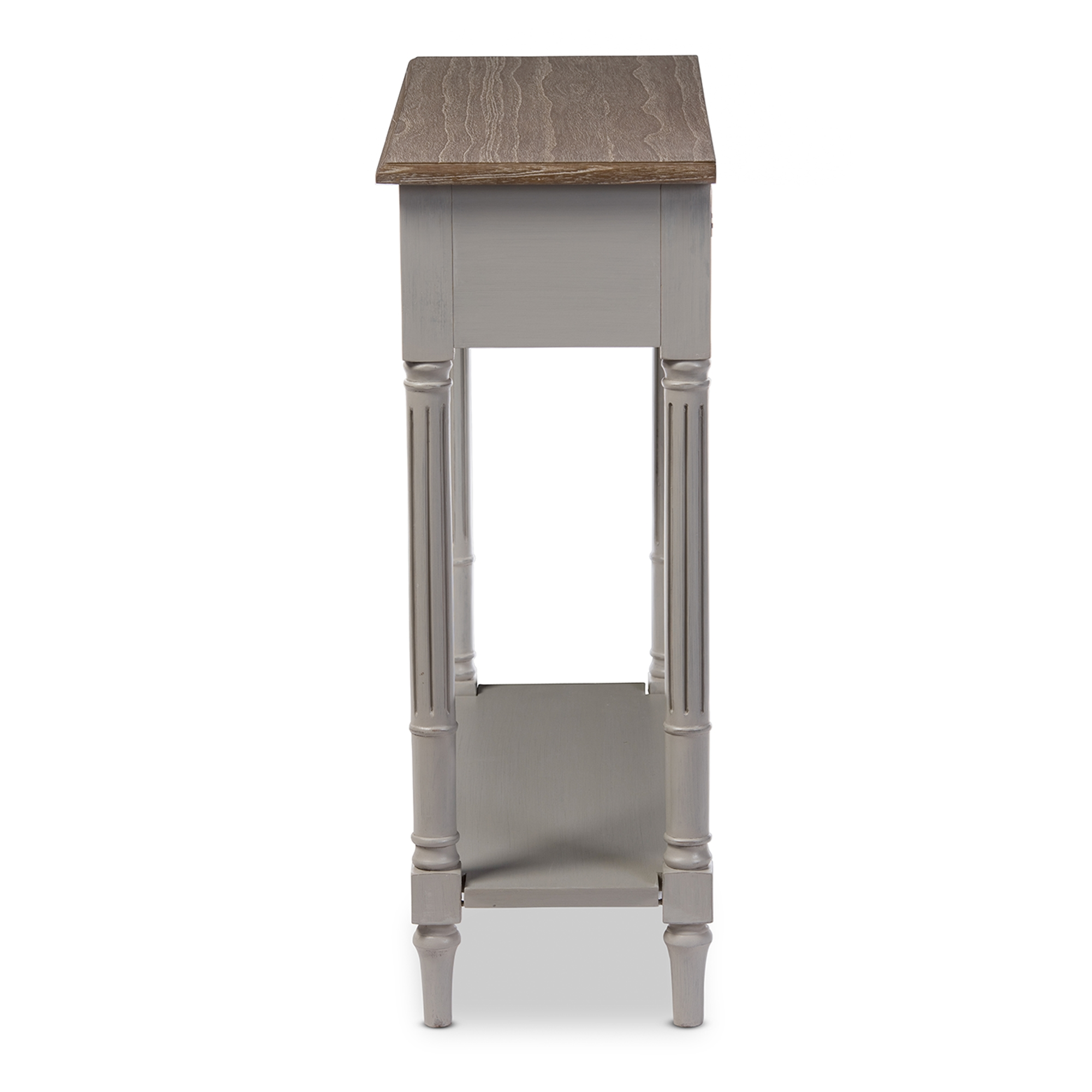 ... Baxton Studio Edouard French Provincial Style White Wash Distressed Two Tone  1 Drawer Console ...