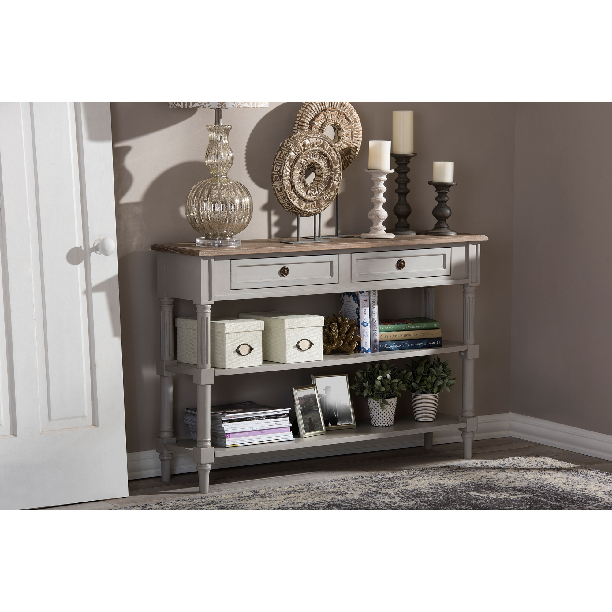 baxton studio edouard french provincial style white wash distressed twotone 2drawer console