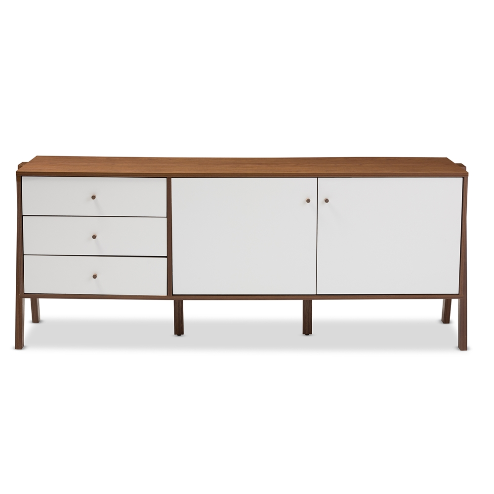 baxton studio harlow mid century modern scandinavian style white and walnut wood sideboard. Black Bedroom Furniture Sets. Home Design Ideas