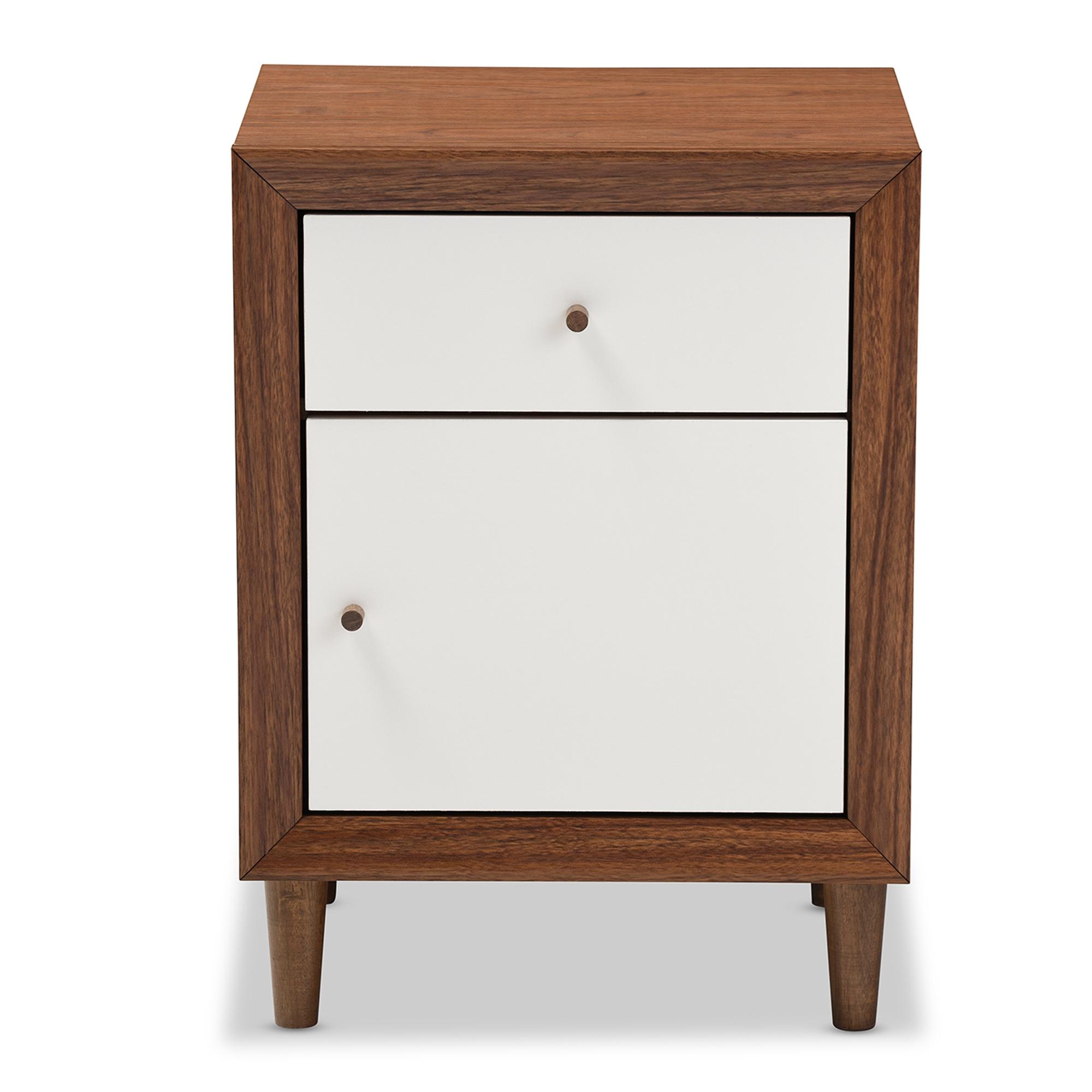 Baxton Studio Harlow Mid Century Modern Scandinavian Style White And Walnut  Wood 1 Drawer And 1 Door Nightstand