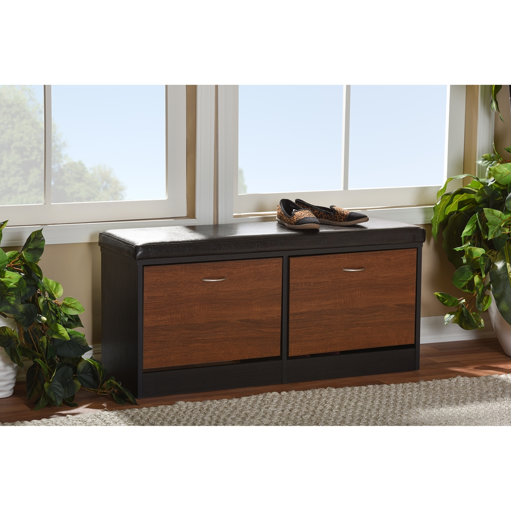 30 Eye Catching Entryway Benches For Your Home: Baxton Studio Foley Modern And Contemporary 2-tone Dark