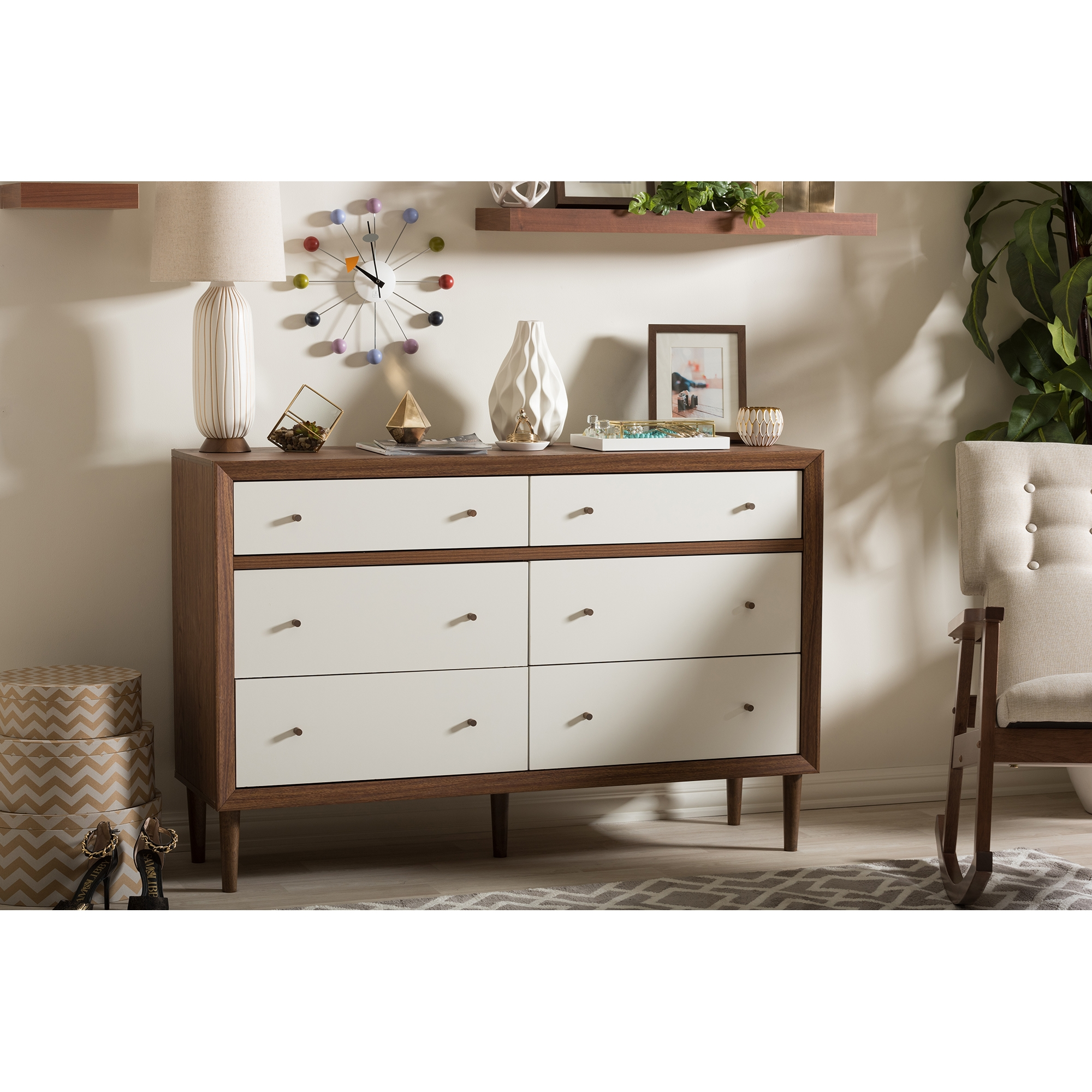 ... Baxton Studio Harlow Mid Century Modern Scandinavian Style White And  Walnut Wood 6 Drawer