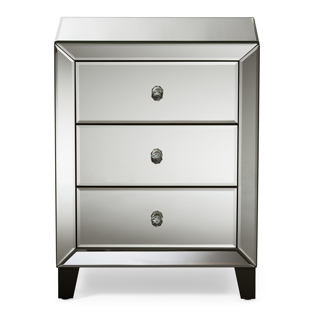 baxton studio chevron modern and contemporary hollywood regency  - baxton studio chevron modern and contemporary hollywood regency glamourstyle mirrored drawers nightstand bedside table