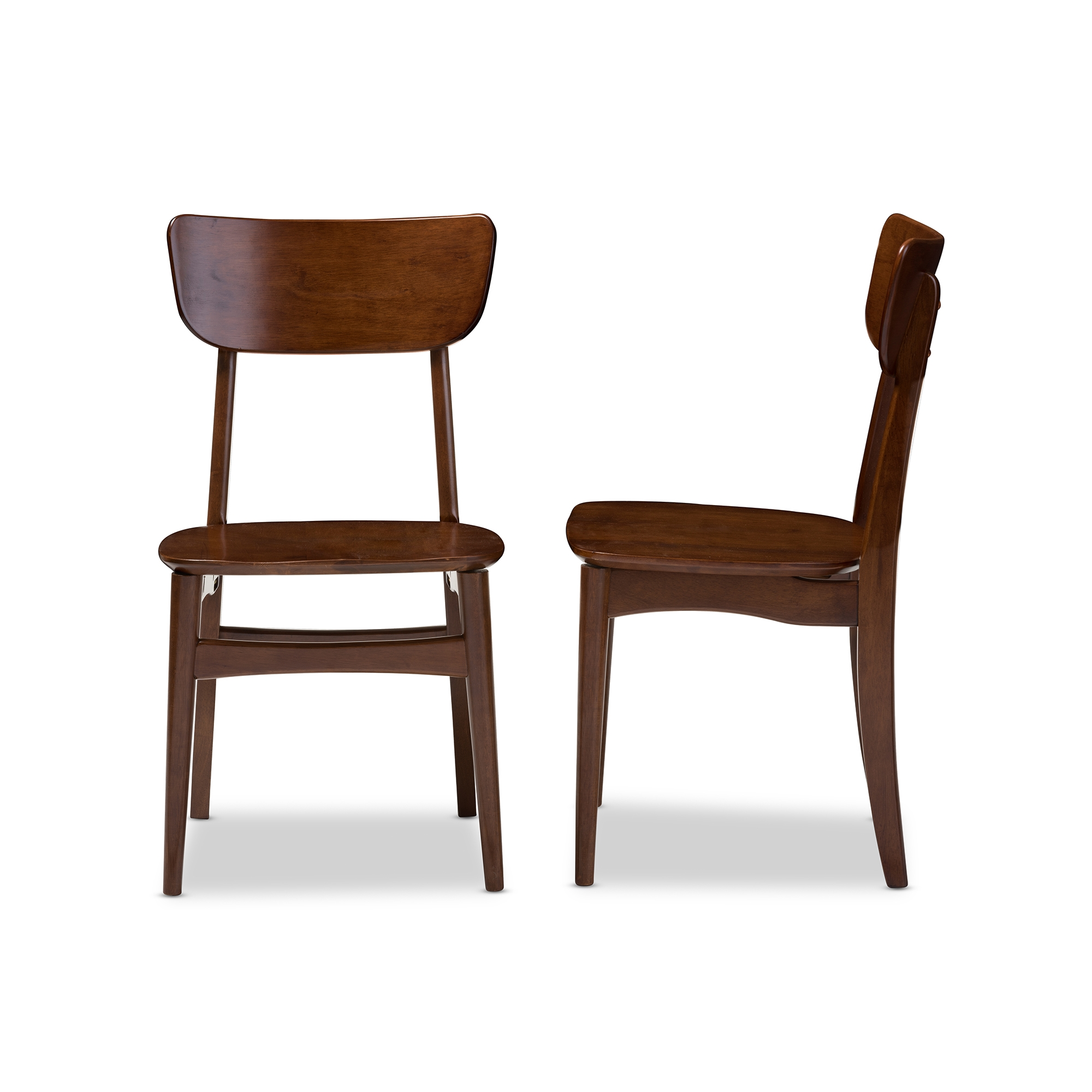 Baxton Studio Netherlands Mid Century Modern Scandinavian Style Dark Walnut  Bent Wood Dining Side Chair