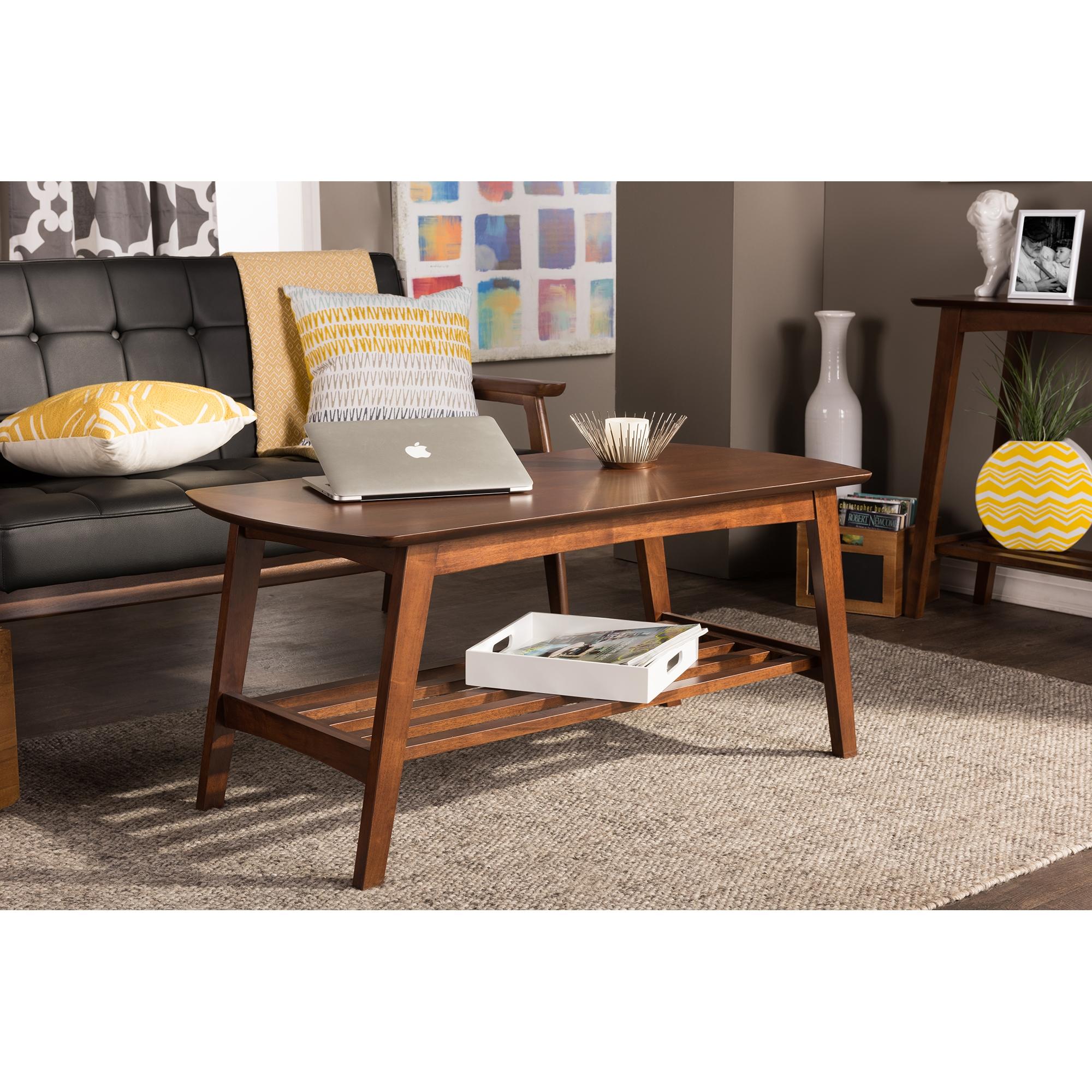 ... Baxton Studio Sacramento Mid Century Modern Scandinavian Style Dark  Walnut Coffee Table   BSORT295A