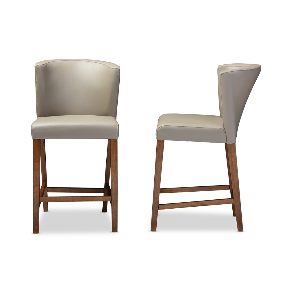Baxton studio olivia mid century modern scandinavian style dark walnut wood grey faux leather pub stool