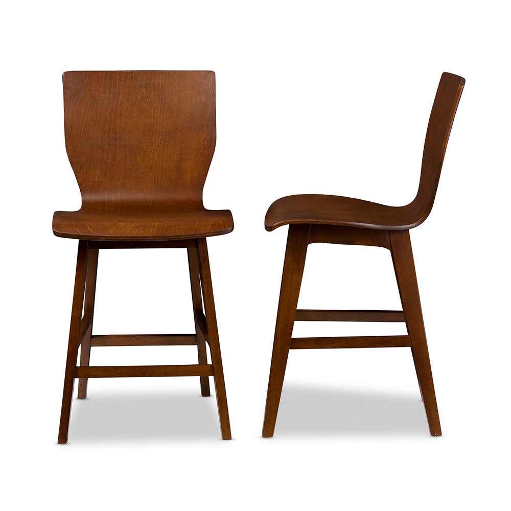 Baxton Studio Elsa Mid-century Modern Scandinavian Style Dark Walnut Bent  Wood Counter Stool