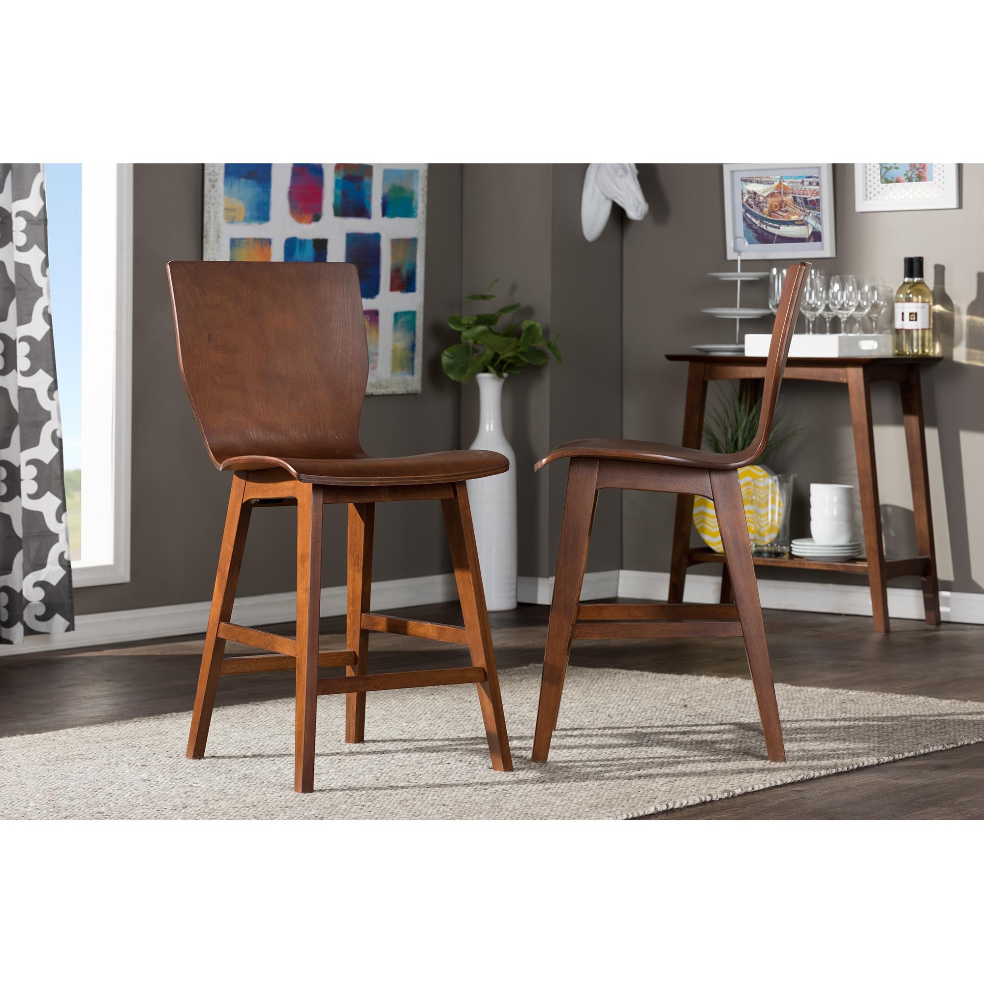 baxton studio elsa midcentury modern style dark walnut bent wood counter stool