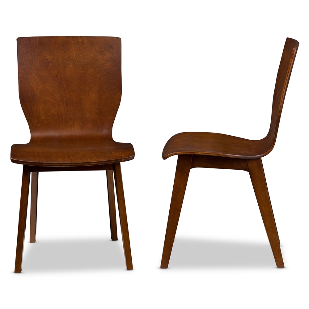 Danish modern walnut dining chairs - Baxton Studio Elsa Mid Century Modern Scandinavian Style Dark Walnut Bent Wood Dining Chair