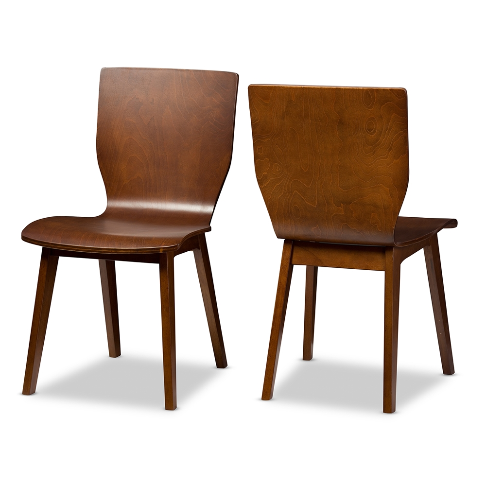Modern wood chair with arms -  Baxton Studio Elsa Mid Century Modern Scandinavian Style Dark Walnut Bent Wood Dining Chair