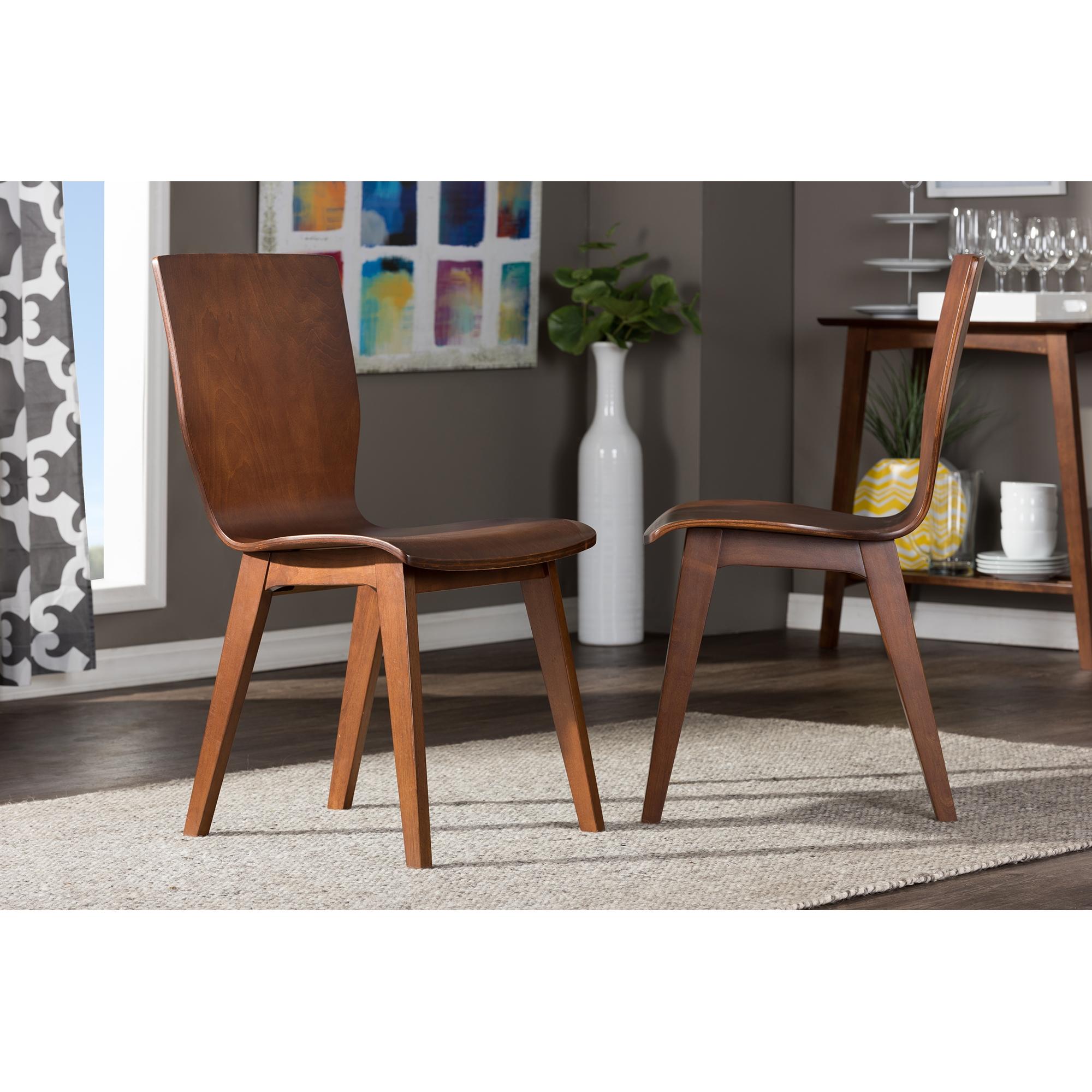 baxton studio elsa midcentury modern style dark walnut bent wood dining chair