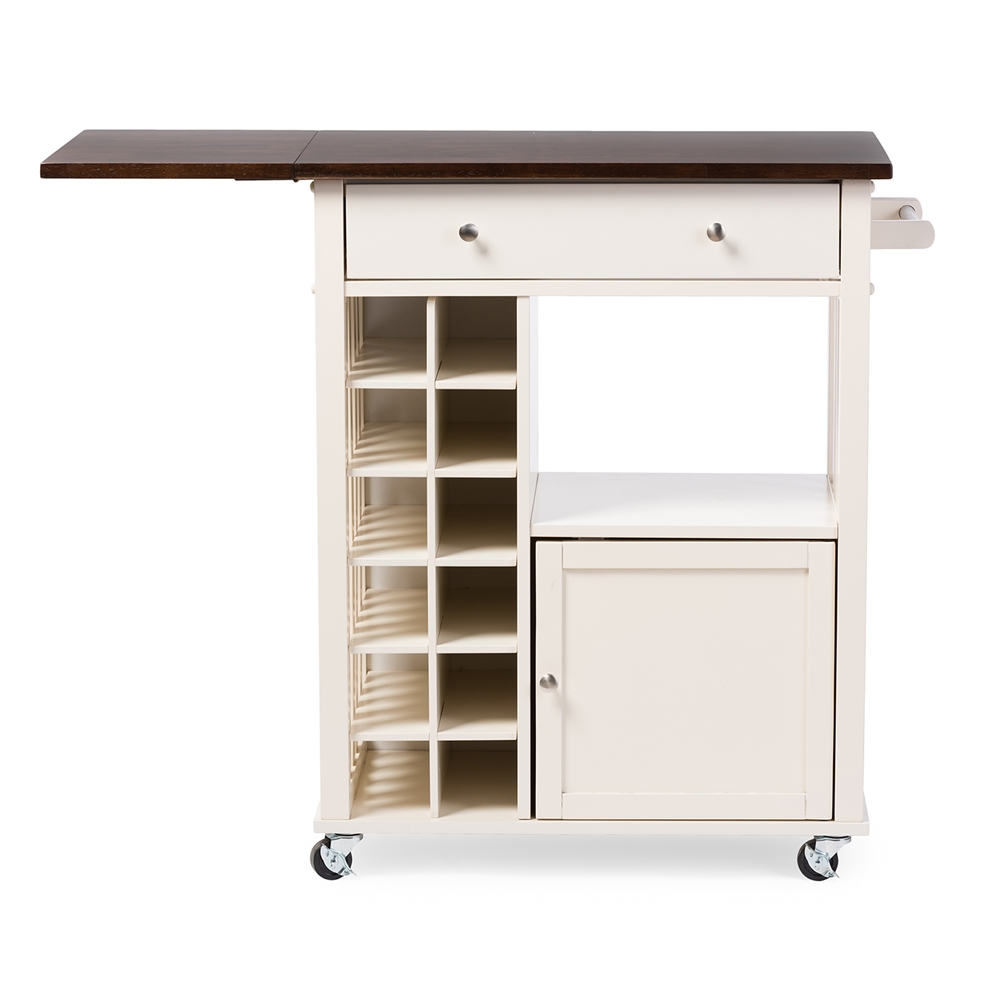 Baxton Studio Justin Modern And Contemporary Cream White Solid Wood Kitchen Cart With Dark Oak Drop Leaf Top Built In Wine Rack