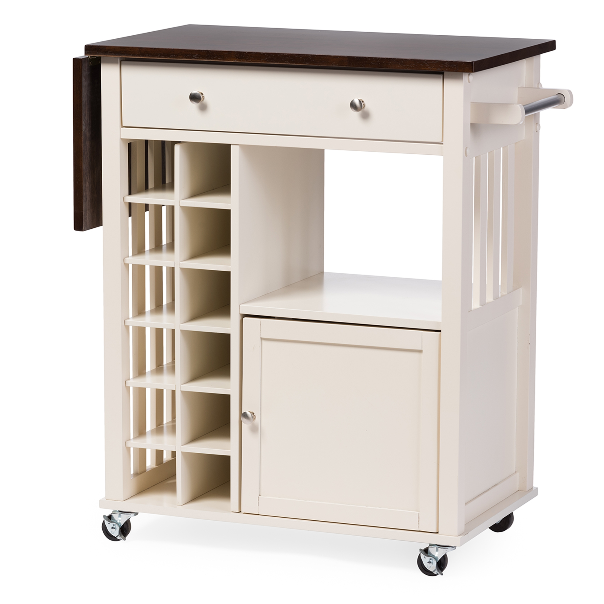 ... Baxton Studio Justin Modern And Contemporary Cream White Solid Wood  Kitchen Cart With Dark Oak Drop ...