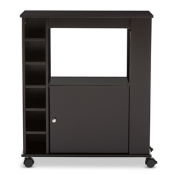 Baxton Studio Ontario Modern And Contemporary Dark Brown Wood Dry Bar Wine Cabinet Affordable