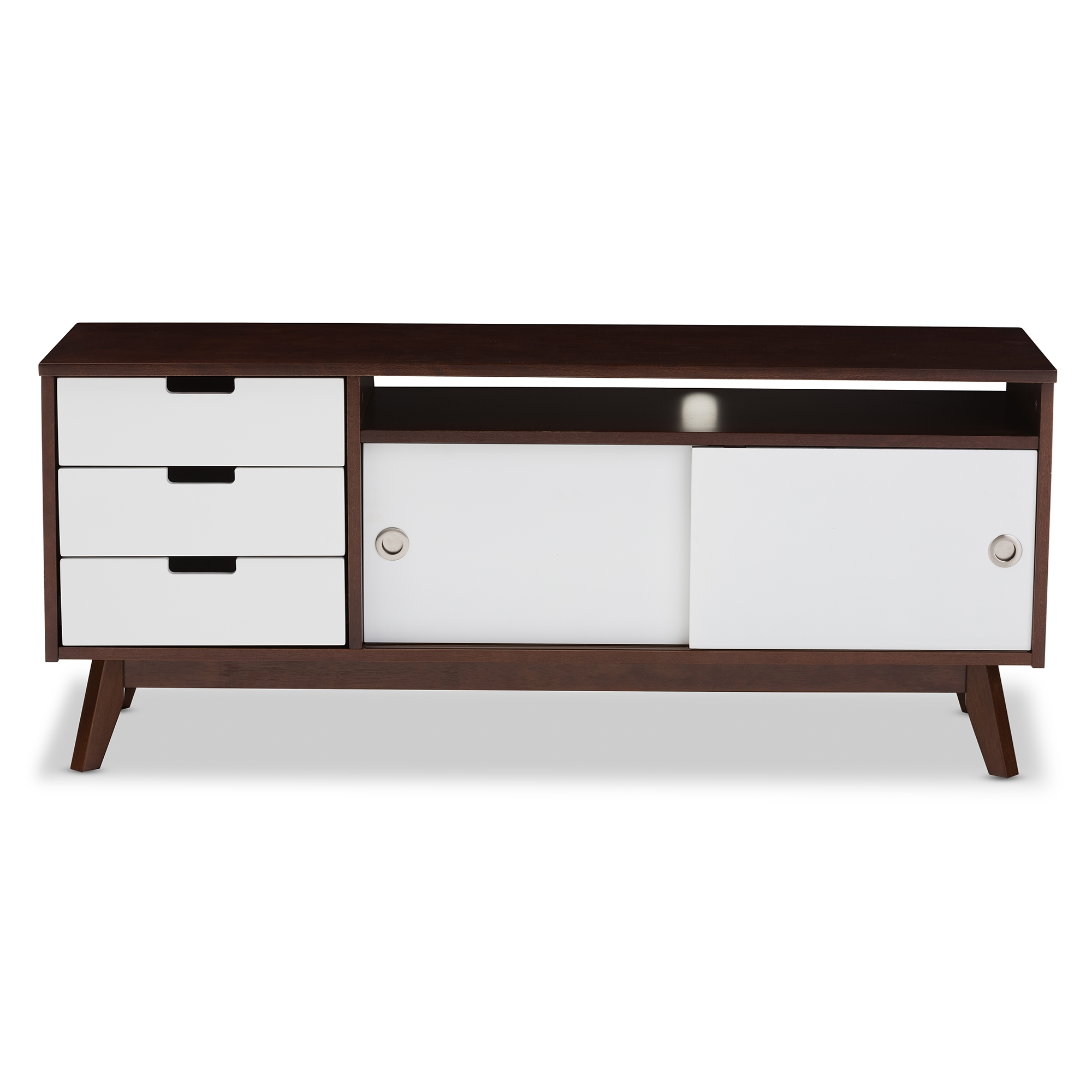 Baxton Studio Alphard Mid Century Modern Dark Walnut And White Two Tone  Finish Wood TV Cabinet