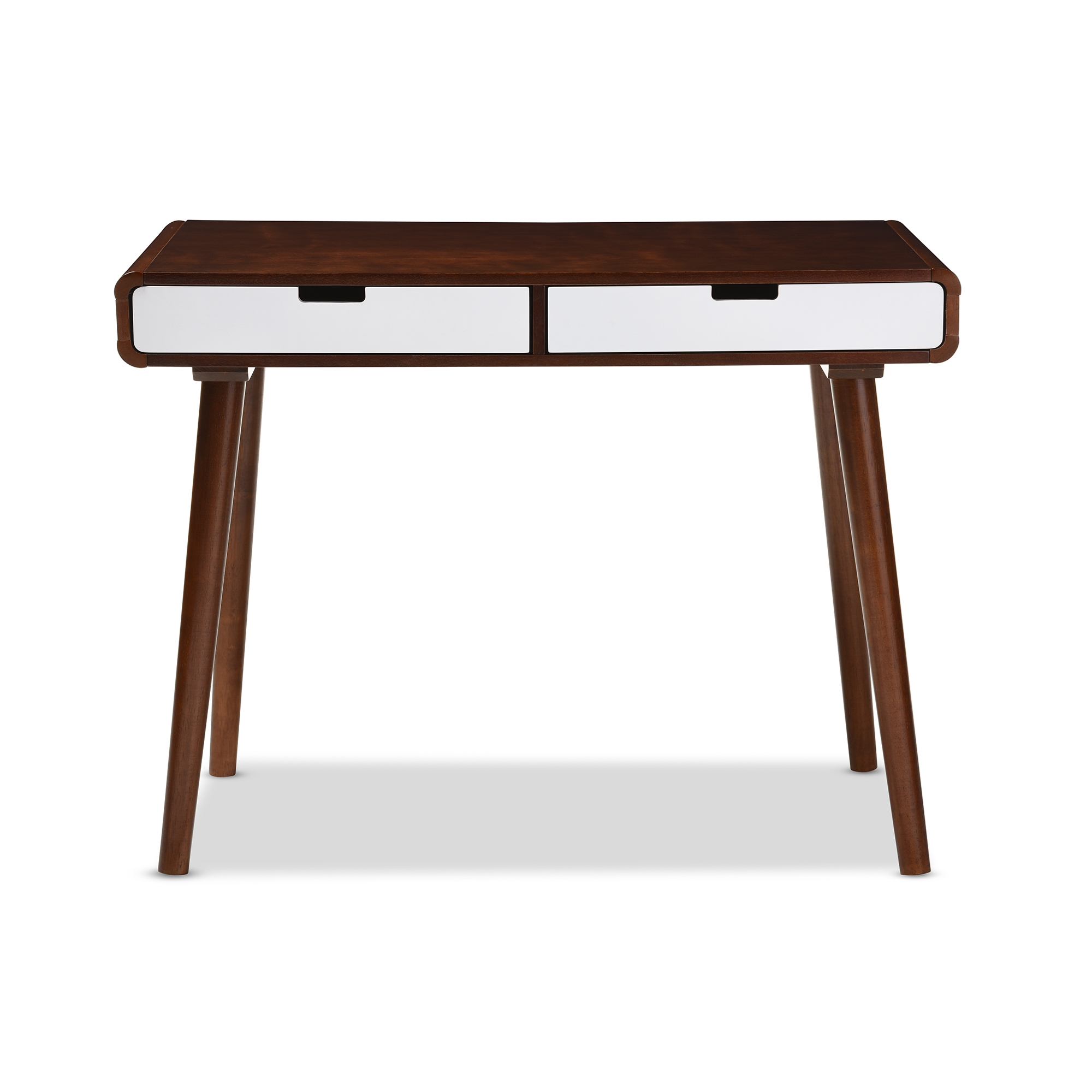 Baxton Studio Casarano Mid Century Modern Dark Walnut And White Two Tone  Finish 2 Drawer Wood Home Office Writing Desk