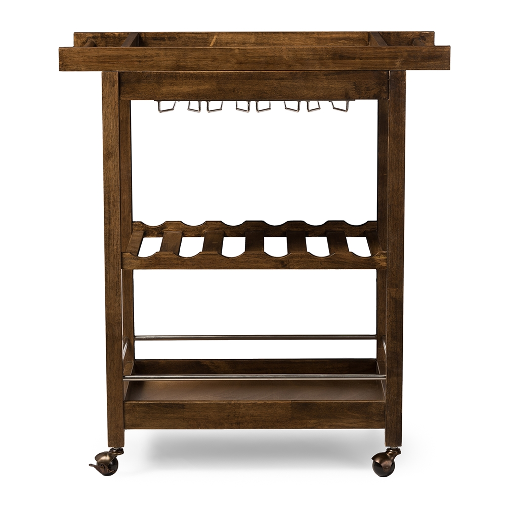 Baxton Studio Hannah Brown Finish Rubberwood Serving Bar Cart With Built In Wine Rack And Glass Holders