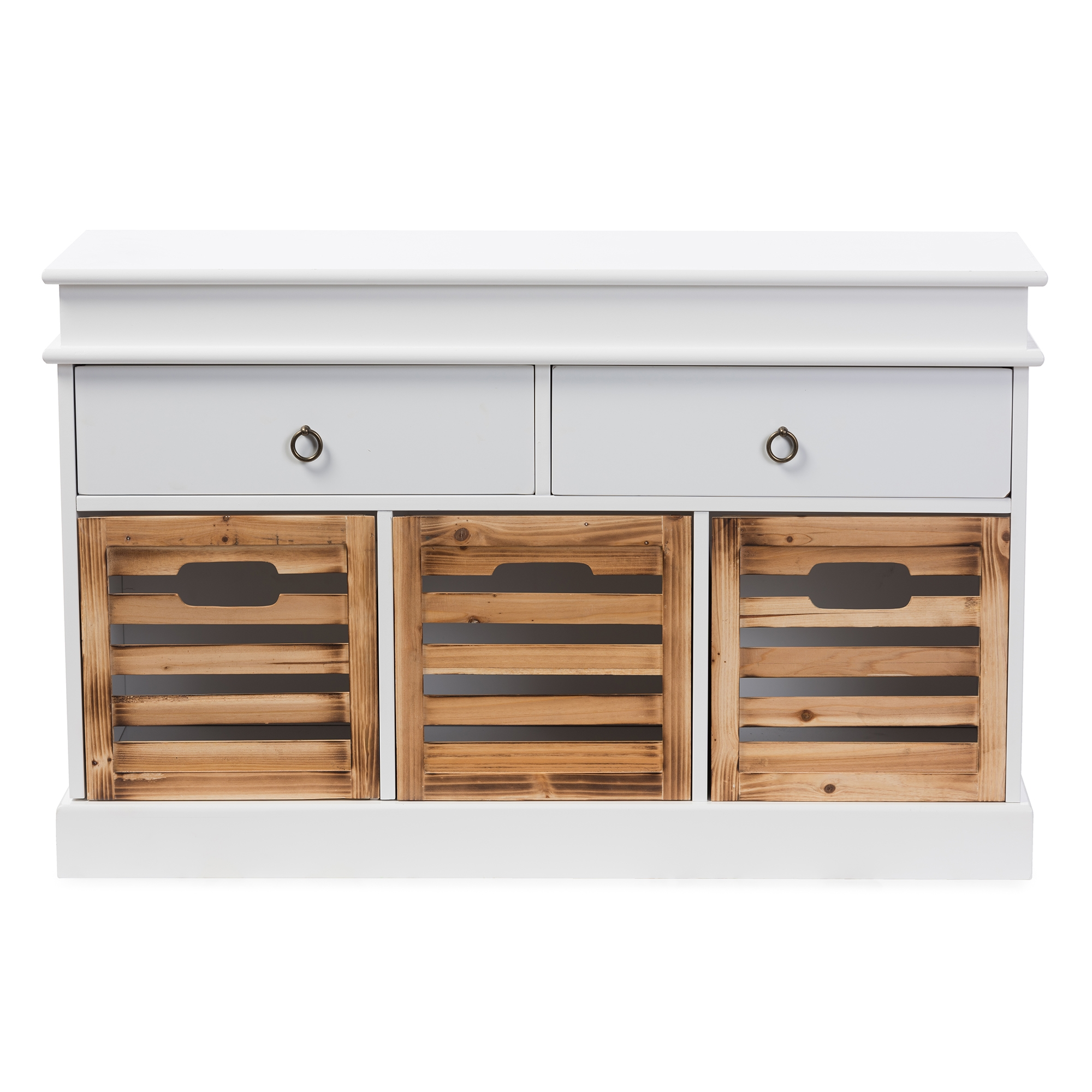 Baxton Studio Rochefort British Colonial Classical Country Style White And  Natural Finished 5 Drawer Storage Bench