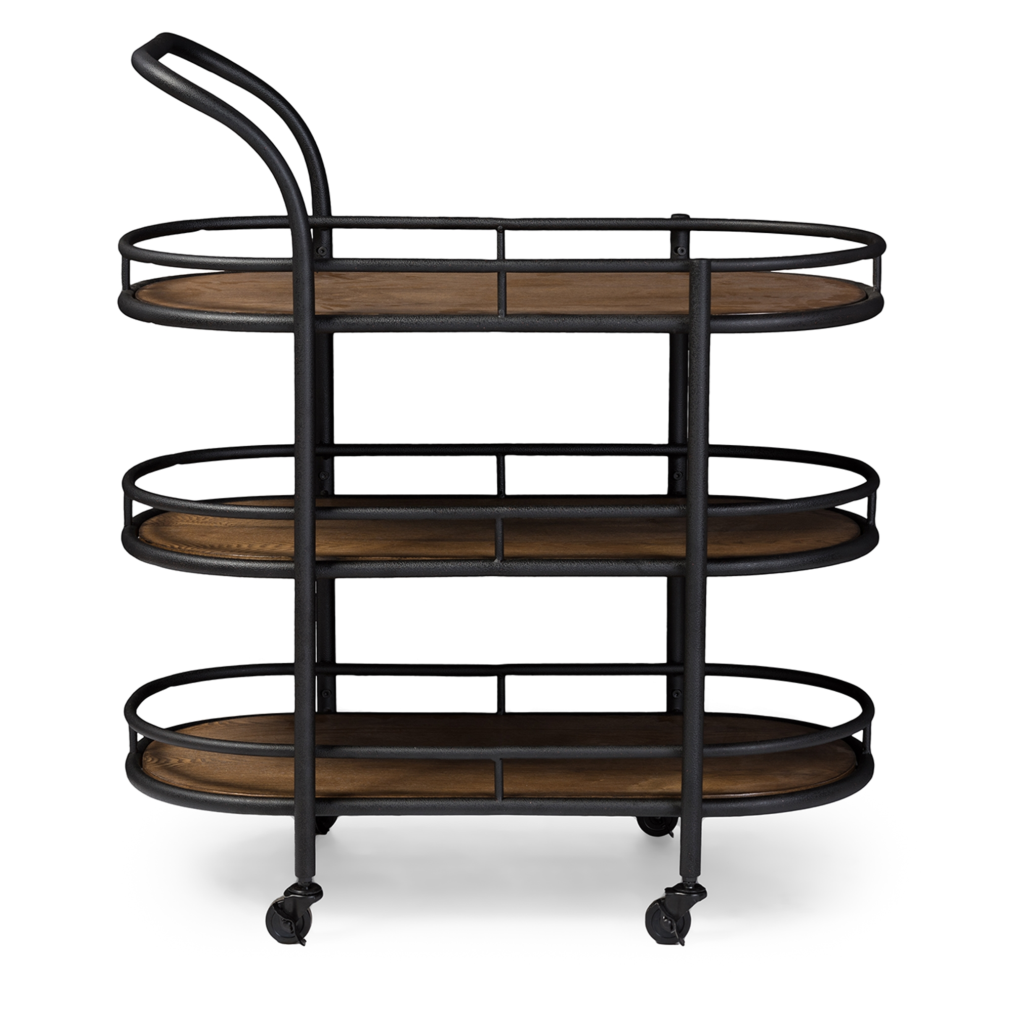 Baxton Studio Karlin Rustic Industrial Style Antique Black Textured Finish  Metal Distressed Wood Mobile Kitchen Bar
