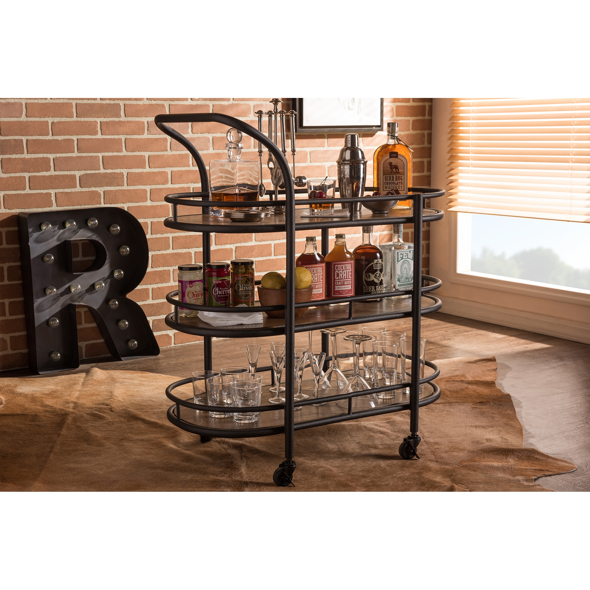 ... Baxton Studio Karlin Rustic Industrial Style Antique Black Textured  Finish Metal Distressed Wood Mobile Kitchen Bar