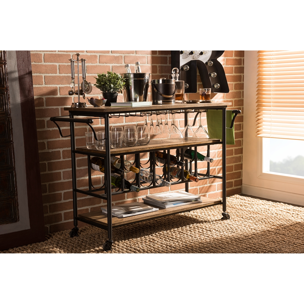 Wood And Metal Industrial Kitchen Cart: Baxton Studio Bradford Rustic Industrial Style Antique