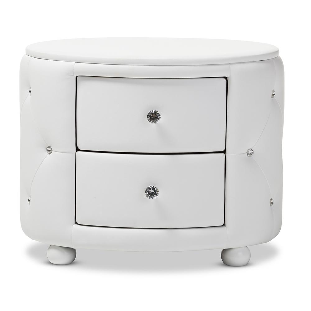 Baxton Studio Davina Hollywood Glamour Style Oval 2-drawer White ...