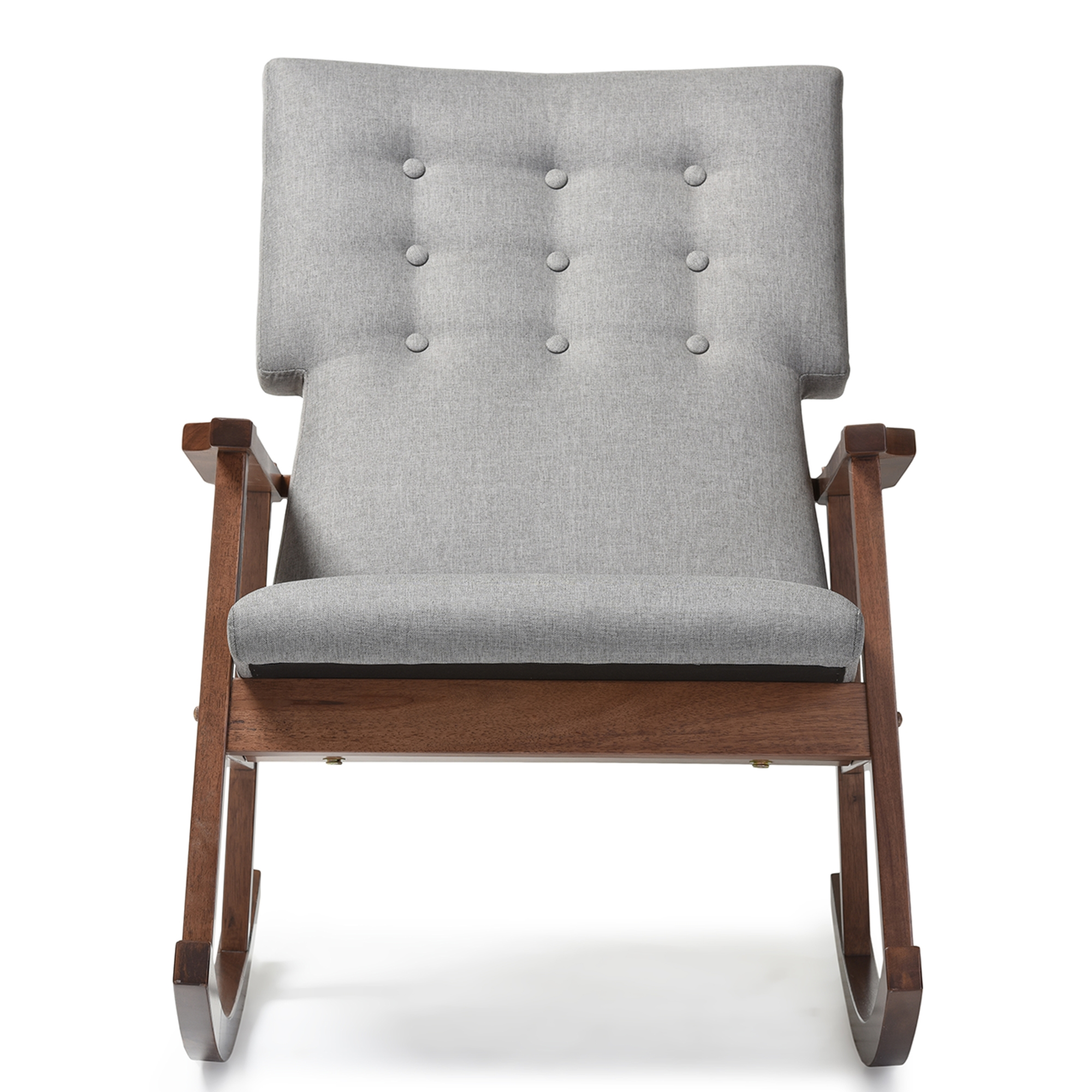 Exceptional Baxton Studio Agatha Mid Century Modern Grey Fabric Upholstered  Button Tufted Rocking Chair