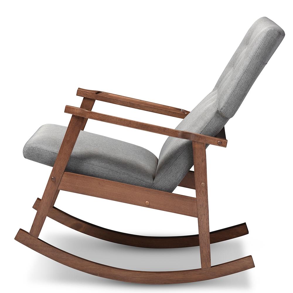 baxton studio agatha midcentury modern grey fabric upholstered  -  baxton studio agatha midcentury modern grey fabric upholstered buttontuftedrocking chair