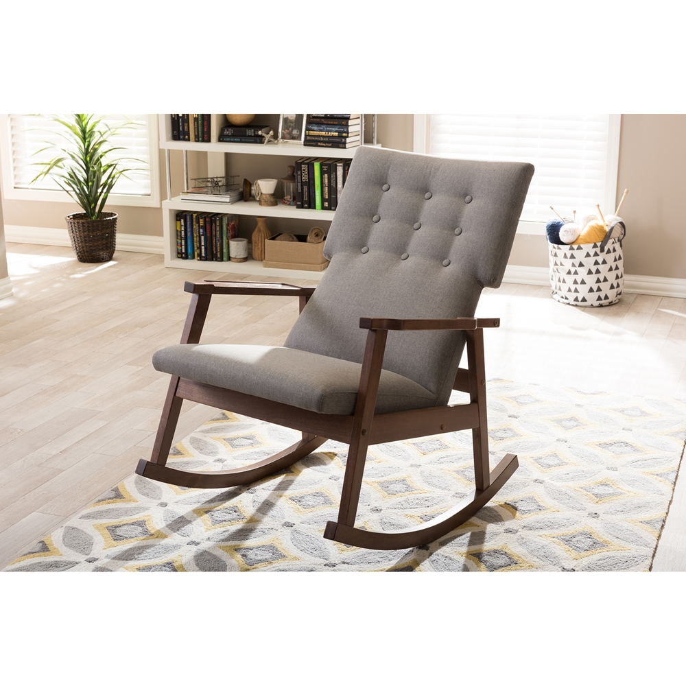 Baxton Studio Agatha Mid Century Modern Grey Fabric Upholstered On Tufted Rocking Chair