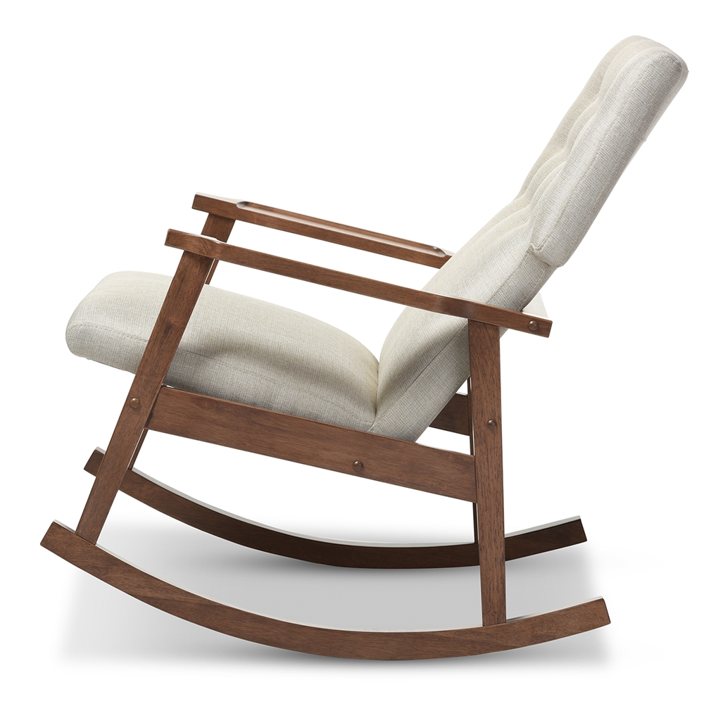 Modern Rocking Chair ~ Baxton studio agatha mid century modern light beige fabric