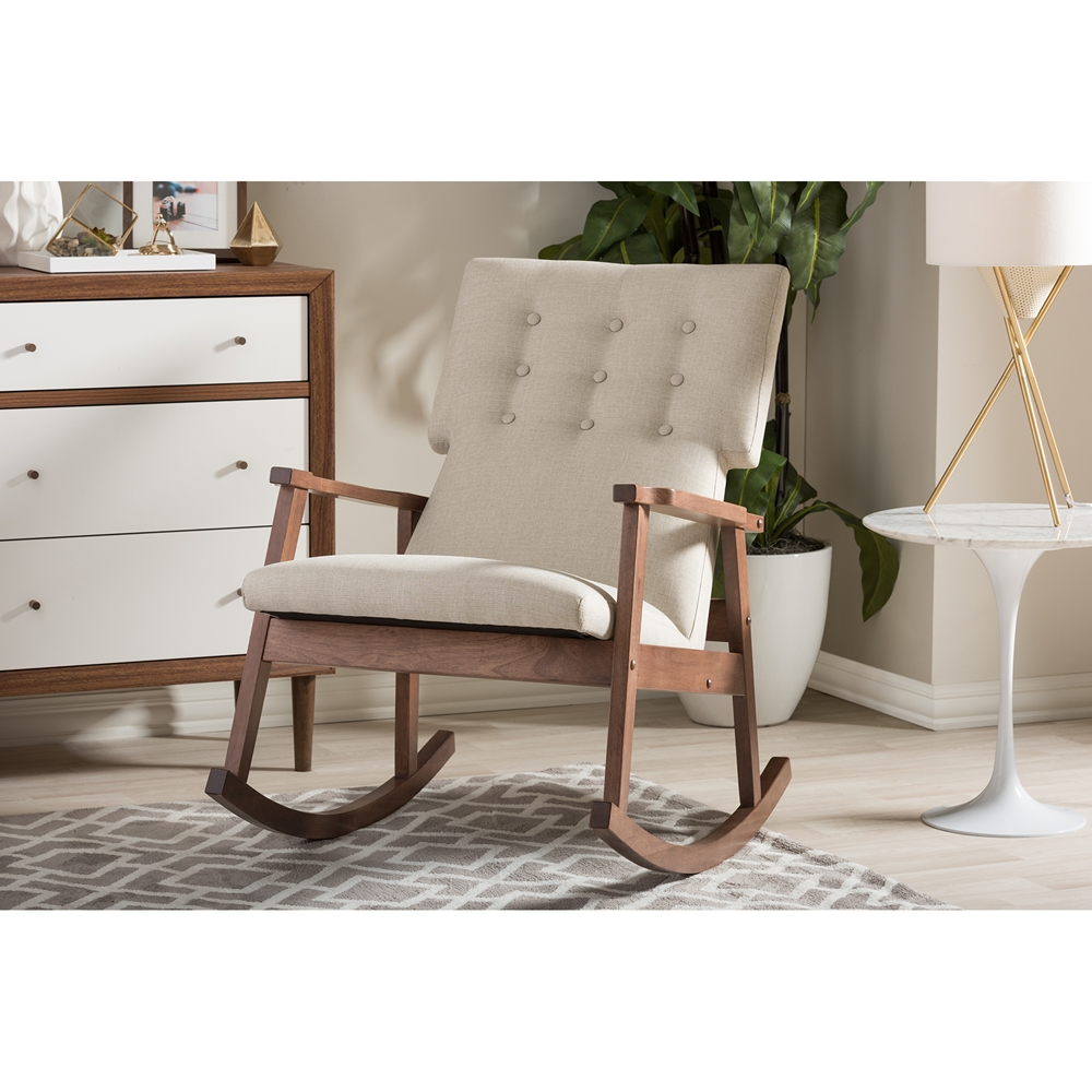 baxton studio agatha midcentury modern light beige fabric  -  baxton studio agatha midcentury modern light beige fabric upholsteredbuttontufted rocking chair