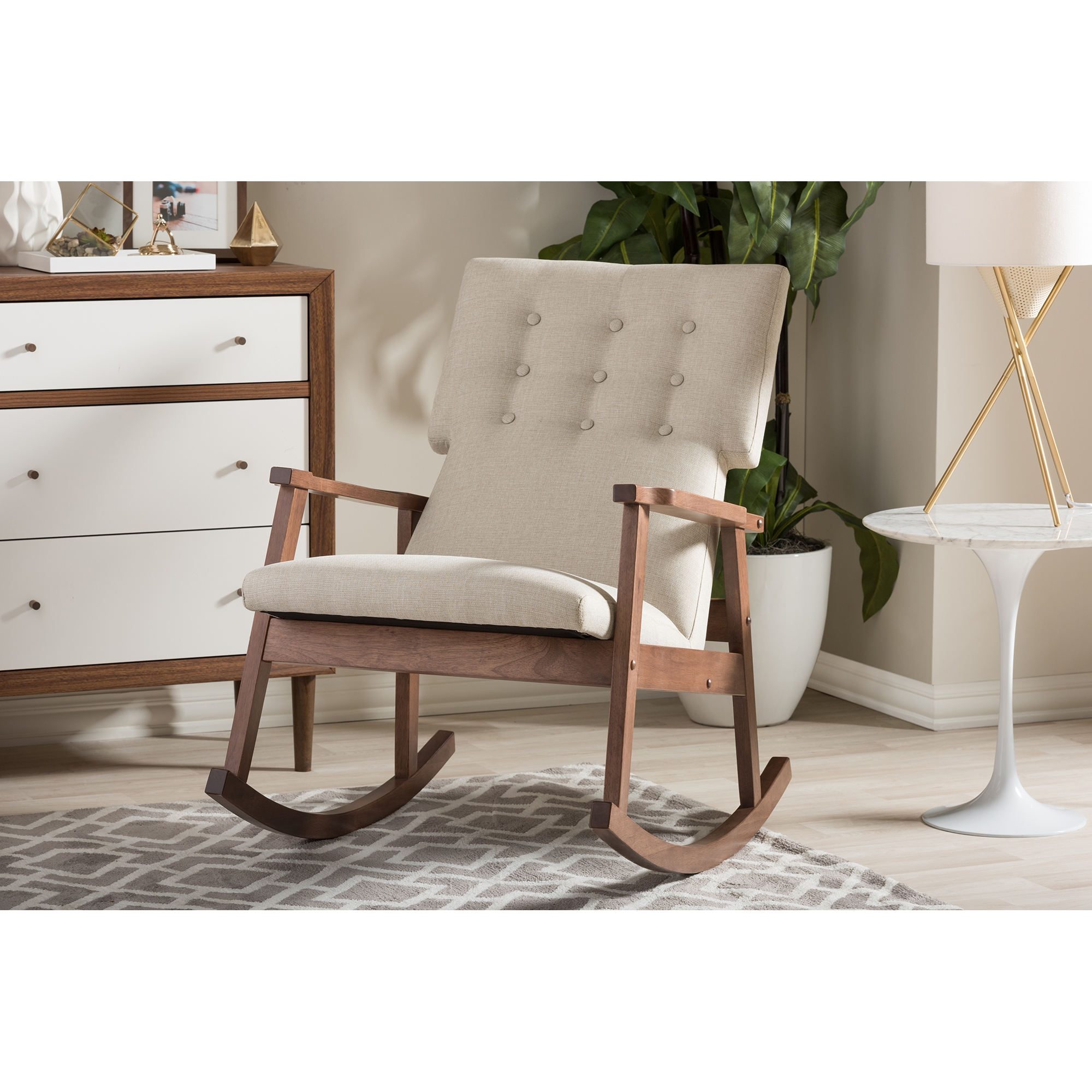 Exceptional ... Baxton Studio Agatha Mid Century Modern Light Beige Fabric Upholstered  Button Tufted Rocking Chair