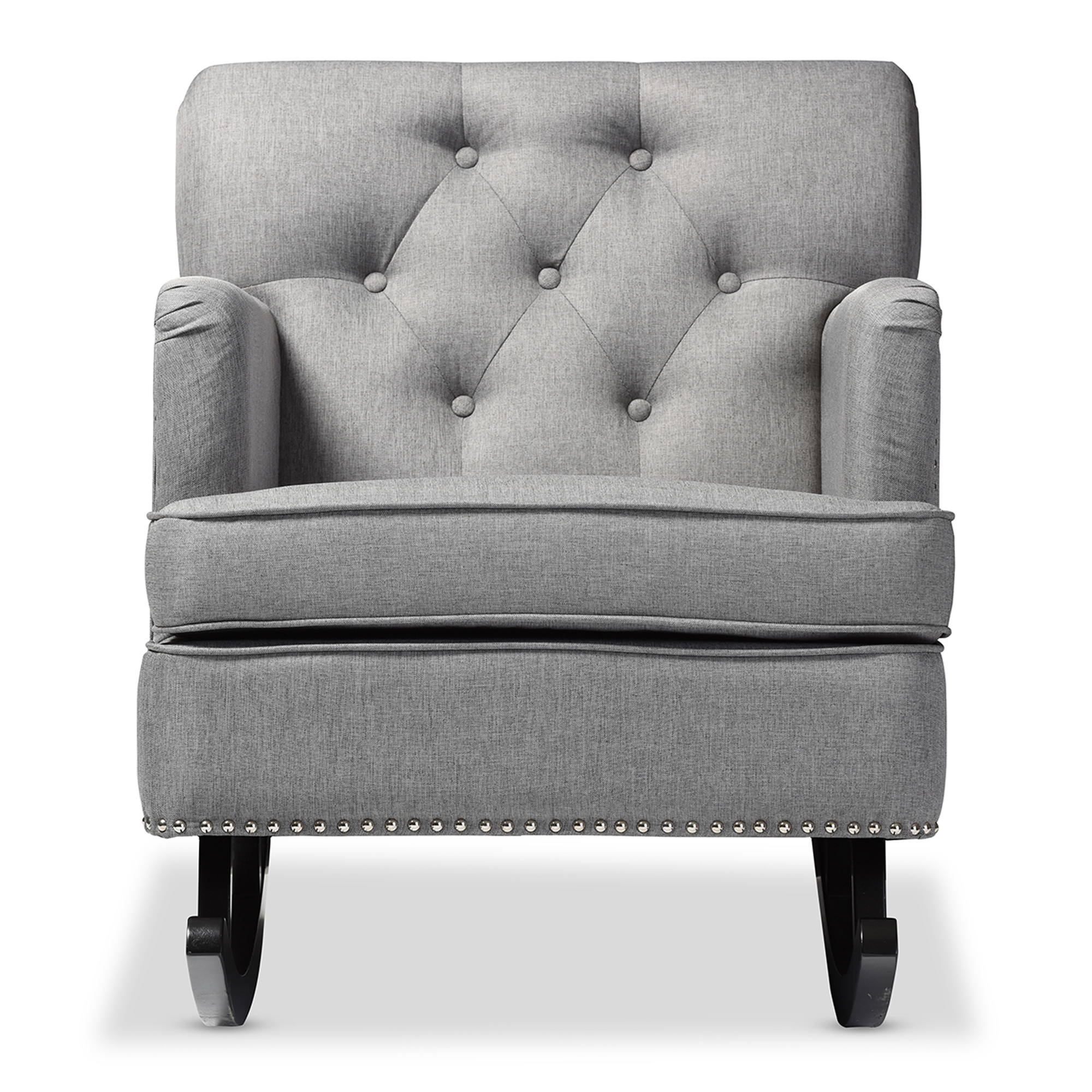 Baxton Studio Bethany Modern And Contemporary Grey Fabric Upholstered  Button Tufted Rocking Chair Affordable Modern