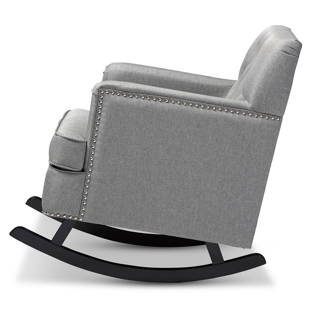 baxton studio bethany modern and contemporary grey fabric  -  baxton studio bethany modern and contemporary grey fabric upholsteredbuttontufted rocking chair  bsobbt
