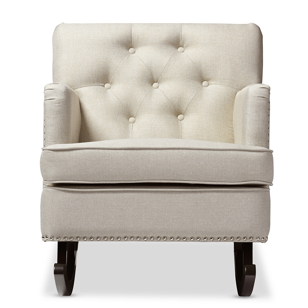 baxton studio bethany modern and contemporary light beige fabric  - baxton studio bethany modern and contemporary light beige fabricupholstered buttontufted rocking chair