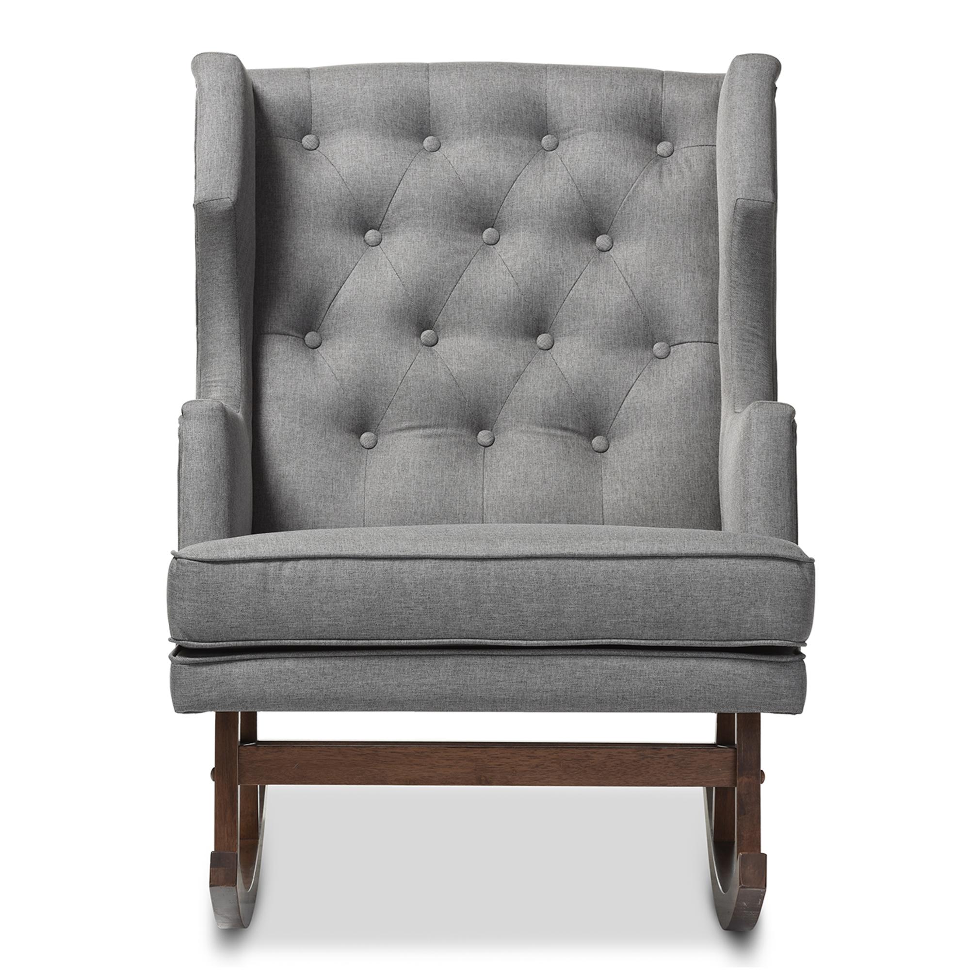 baxton studio iona midcentury retro modern grey fabric upholstered wingback rocking