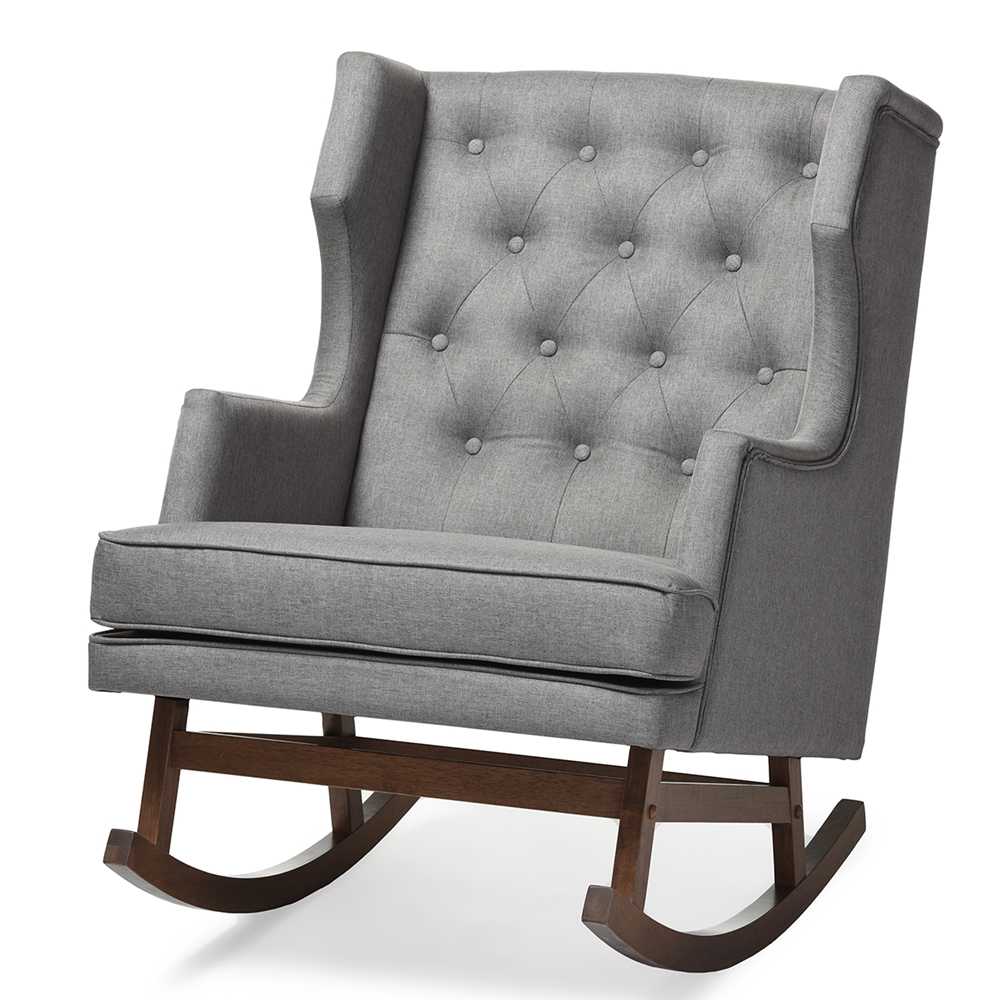 baxton studio iona mid century retro modern grey fabric upholstered button tufted wingback rocking chair baxton studio iona mid century retro modern
