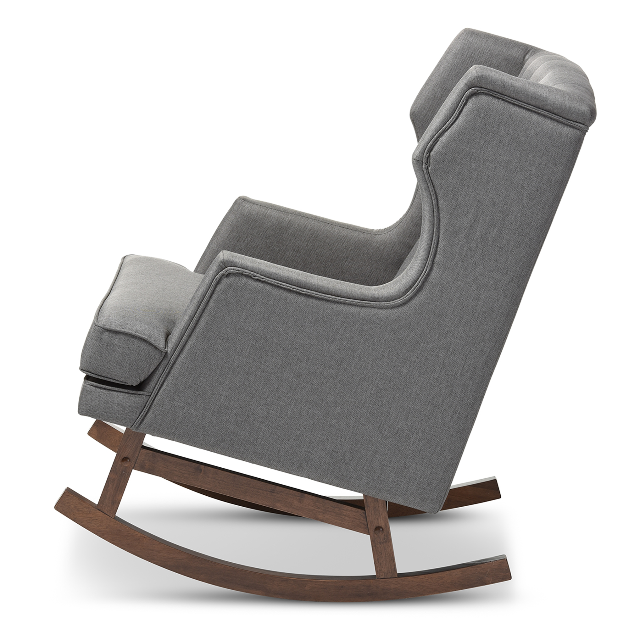 ... Baxton Studio Iona Mid Century Retro Modern Grey Fabric Upholstered  Button Tufted Wingback Rocking ...