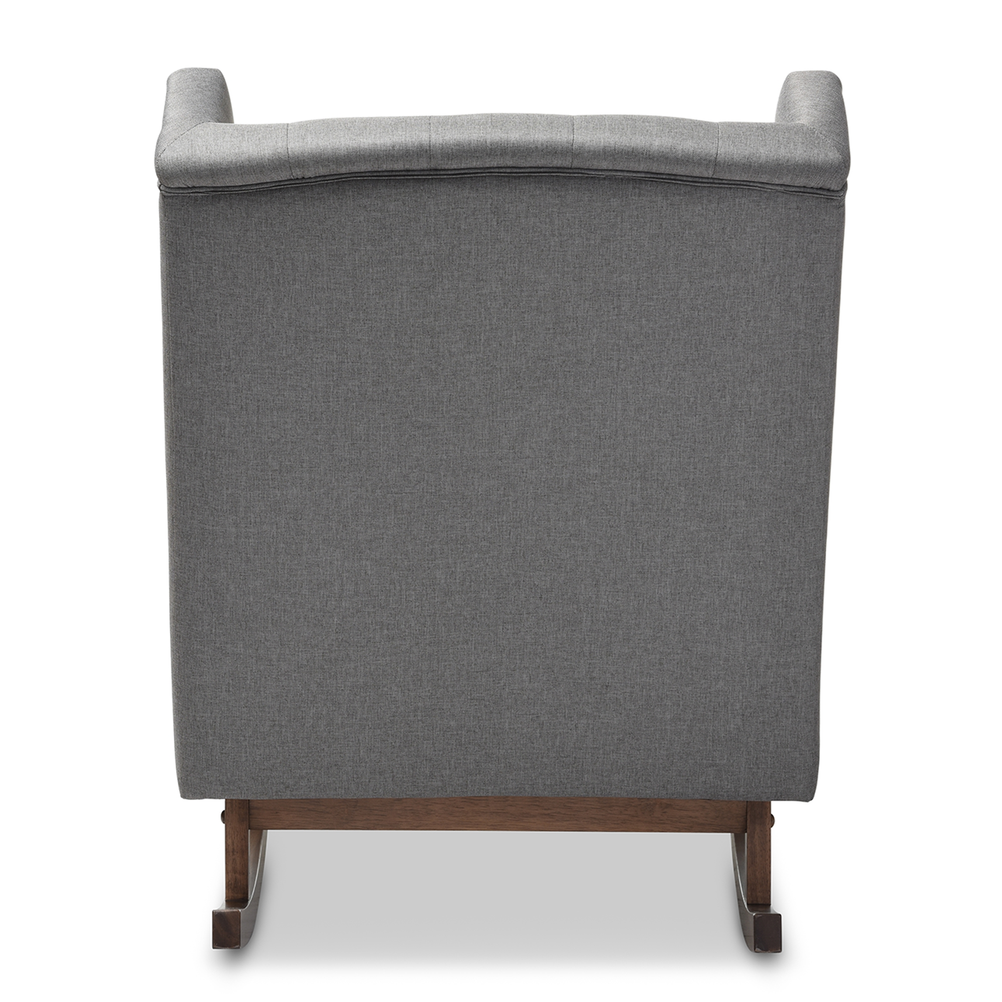 ... Baxton Studio Iona Mid Century Retro Modern Grey Fabric Upholstered  Button Tufted Wingback Rocking ...