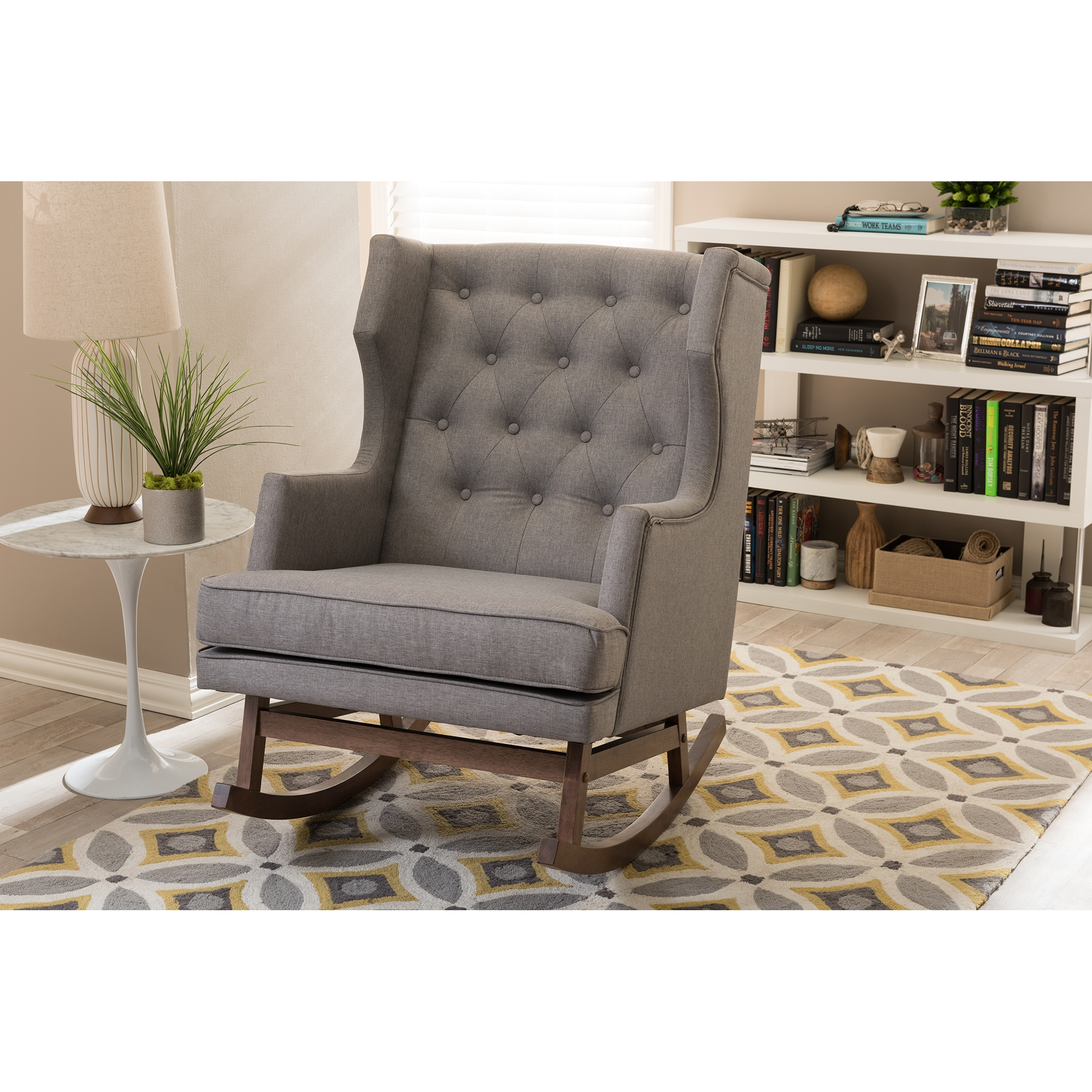 High Quality ... Baxton Studio Iona Mid Century Retro Modern Grey Fabric Upholstered  Button Tufted Wingback Rocking