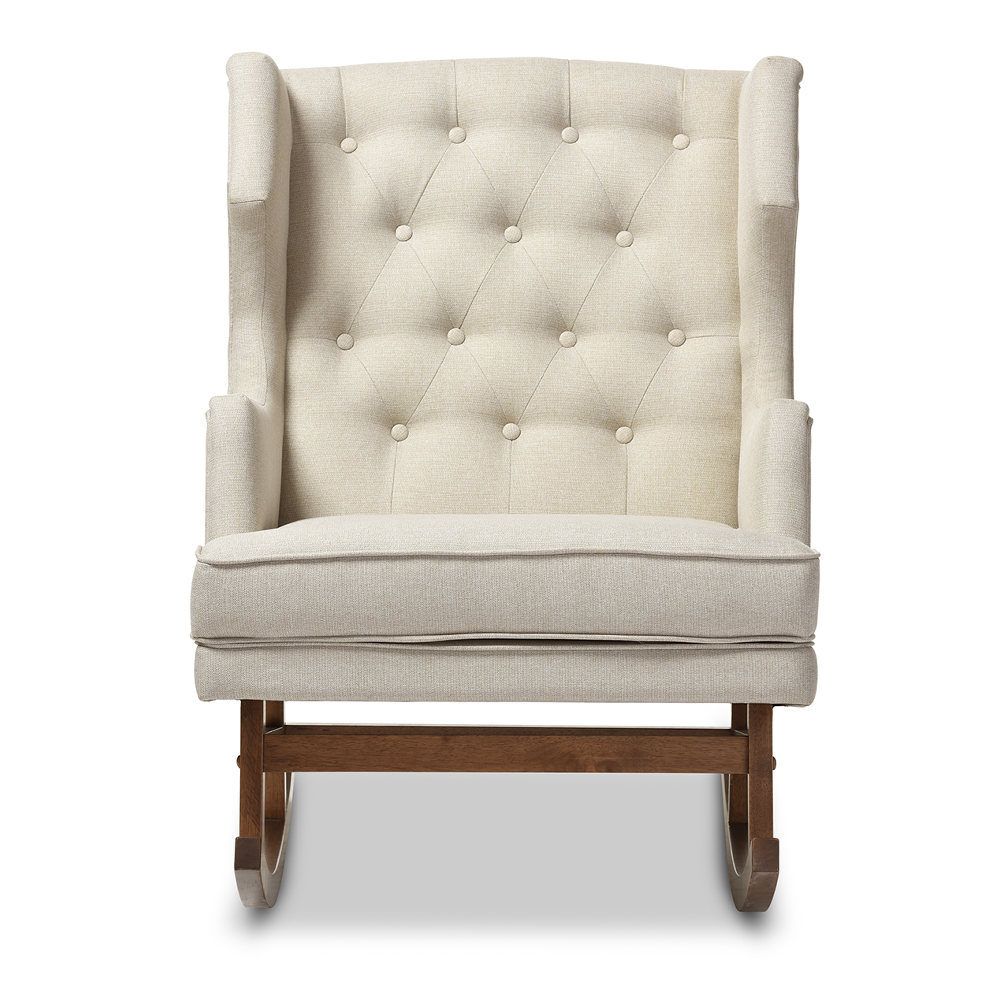 Baxton Studio Iona Mid Century Retro Modern Light Beige Fabric Upholstered  Button Tufted Wingback Rocking Chair