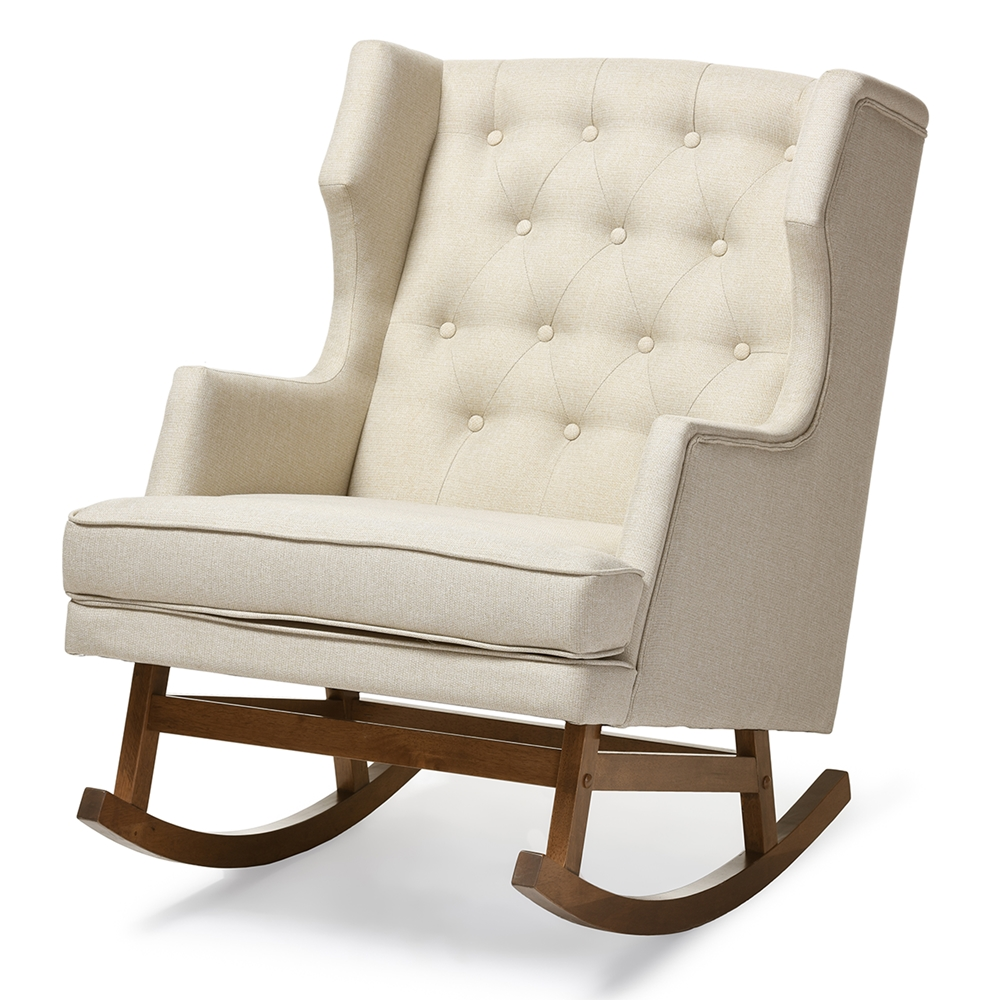 baxton studio iona mid century retro modern light beige fabric upholstered button tufted wingback rocking chair baxton studio iona mid century retro modern