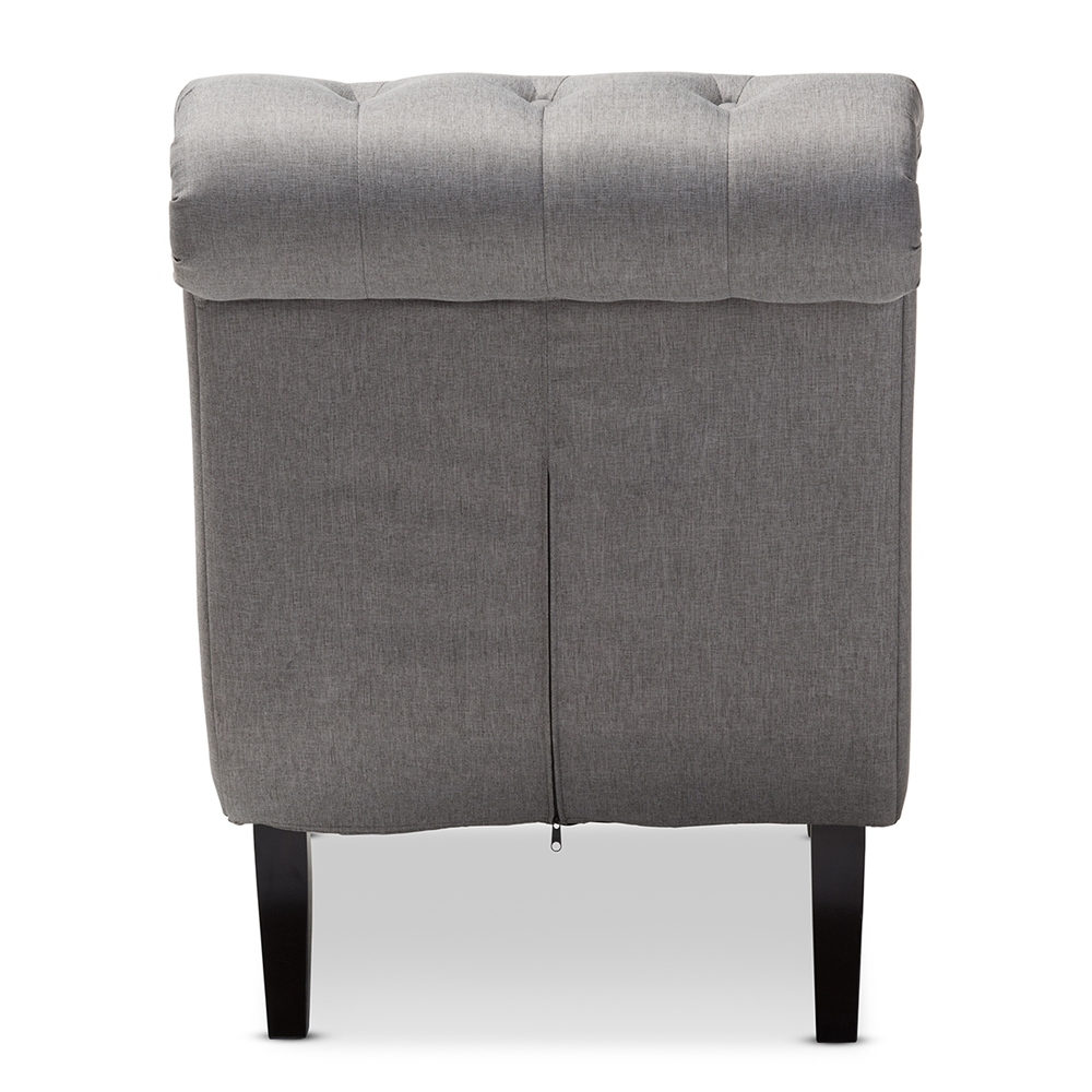 Baxton studio layla mid century retro modern grey fabric for Button tufted chaise settee green