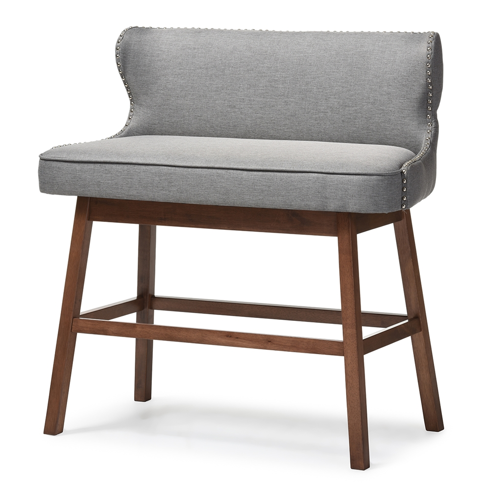 Bar Bench Seating ~ Baxton studio gradisca modern and contemporary grey fabric
