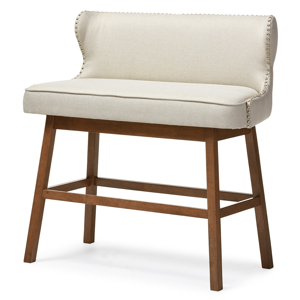 Upholstered Bench Beige: Baxton Studio Gradisca Modern And Contemporary Light Beige