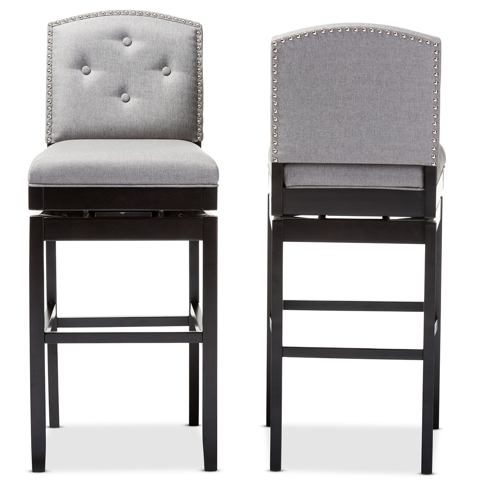 Charming Baxton Studio Ginaro Modern And Contemporary Grey Fabric Button Tufted  Upholstered Swivel Bar Stool Affordable